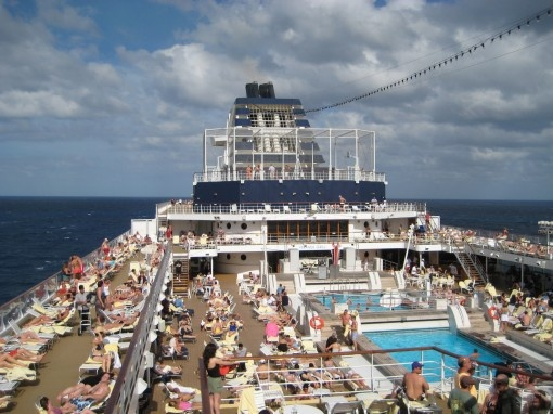 TYPICAL SUN DECK WITH RELAXING PASSENGERS