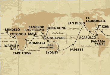 CURRENT WORLD CRUISE ROUTE - 135 DAYS OF AROUND THE WORLD BY MV SEVEN SEAS VOYAGER